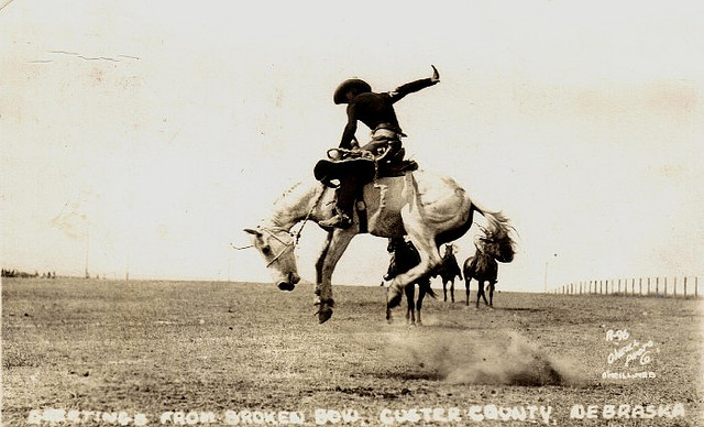 Vintage rodeo in the open field.