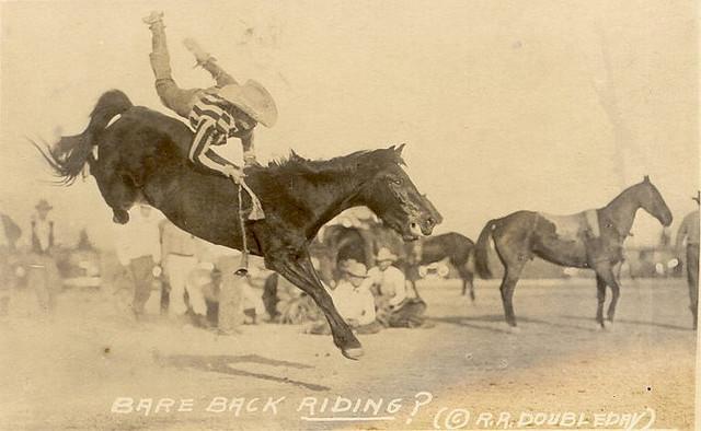 Vintage bare back horse riding.