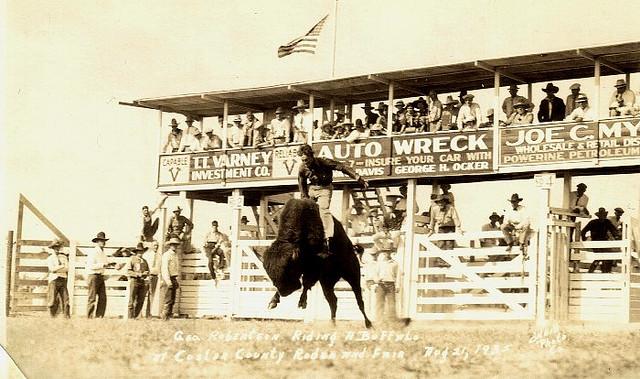Vintage rodeo in the stadium.