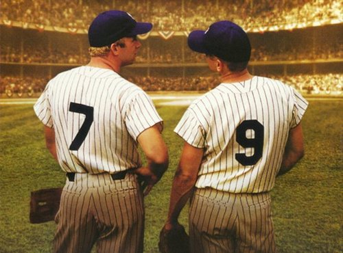Baseball players looking at eachother facing the crowd in movie 61.