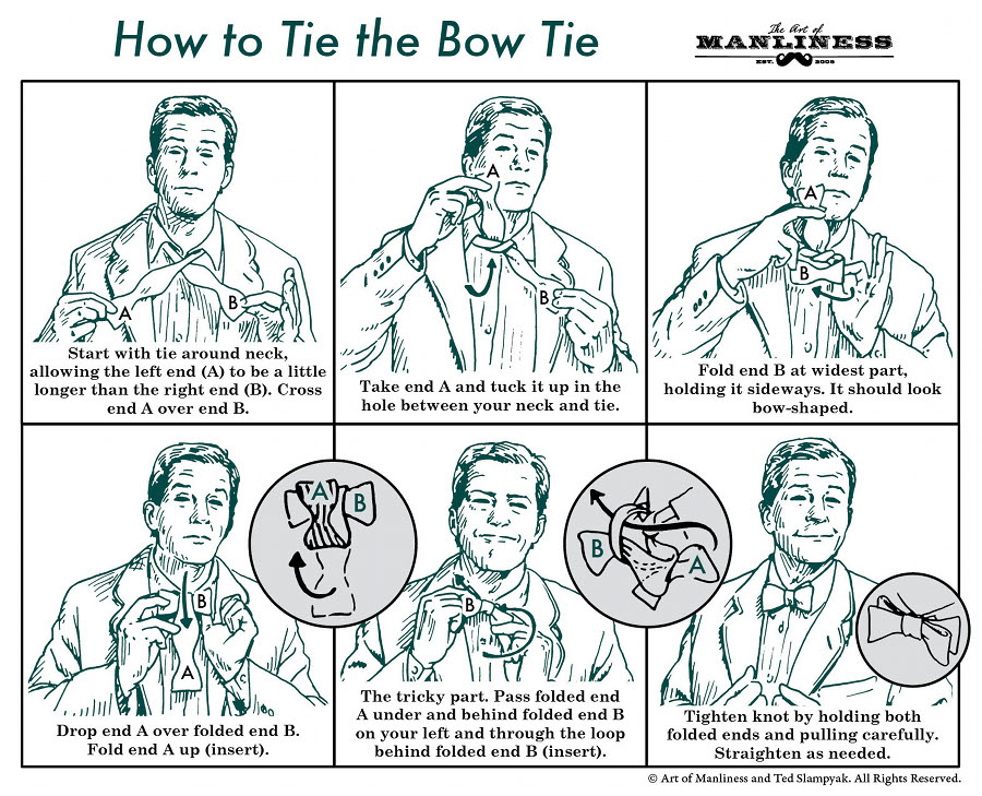 Start with tie around neck, allowing the left end (A) to be a little longer than the right end (B). Cross end A over end B.  Take end A and tuck it up in the hole between your neck and tie.  Fold end B at widest part, holding it sideways. It should look bow-shaped.  Drop end A over folded end B. Fold end A up.  The tricky part. Pass folded end A under and behind folded end B on your left and through the loop behind folded end B.  Tighten kno