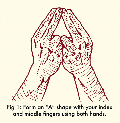 whistle with fingers a shape with index and middle fingers