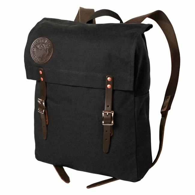 Duluth backpack with leather straps.
