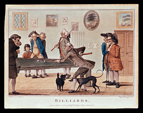 vintage 1700s men playing billiards painting
