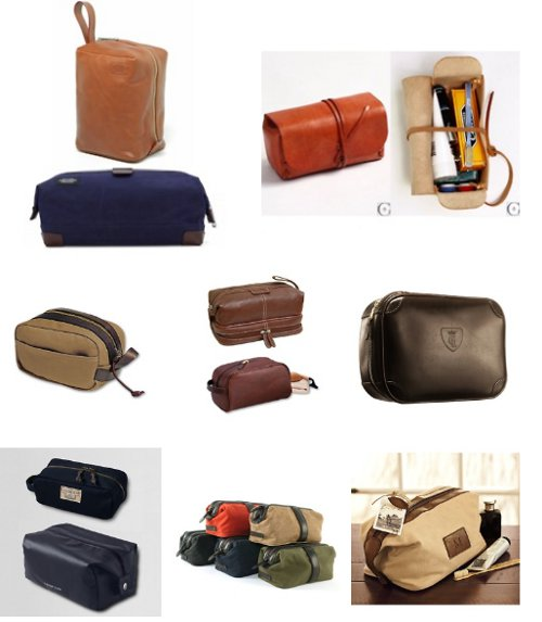 types varieties of men's dopp kits leather nylon
