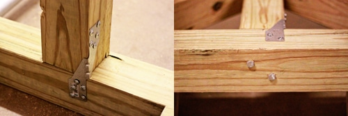 Joining T shape brackets on wooden pieces.