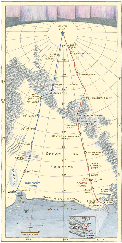 amundsen and scott antarctic south pole routes