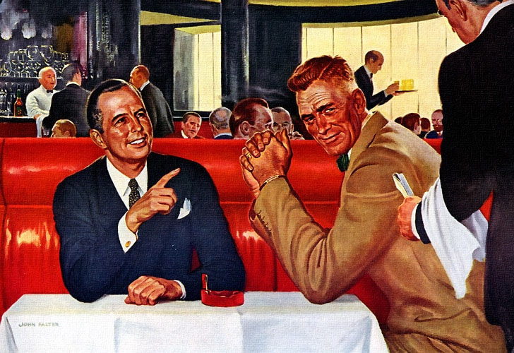 Men sitting at table for lunch illustration.