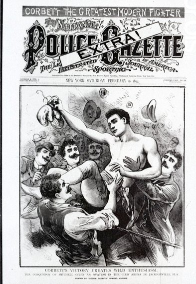 Cover of National Police Gazette Magazine corbett boxing