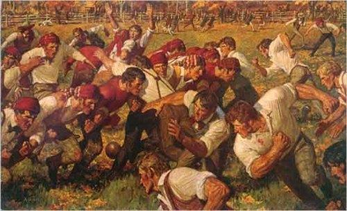 First American Football Game. Rutgers v. Princeton Arnold Friberg