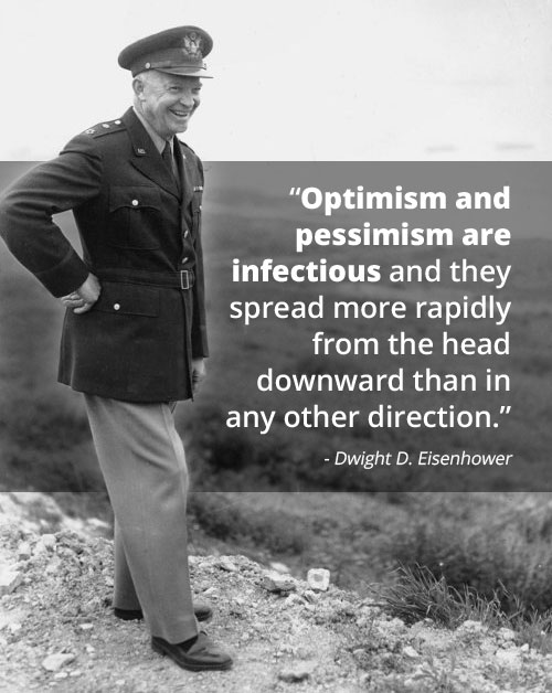 Motivational words by Dwight D Eisenhower about optimism and pessimism.