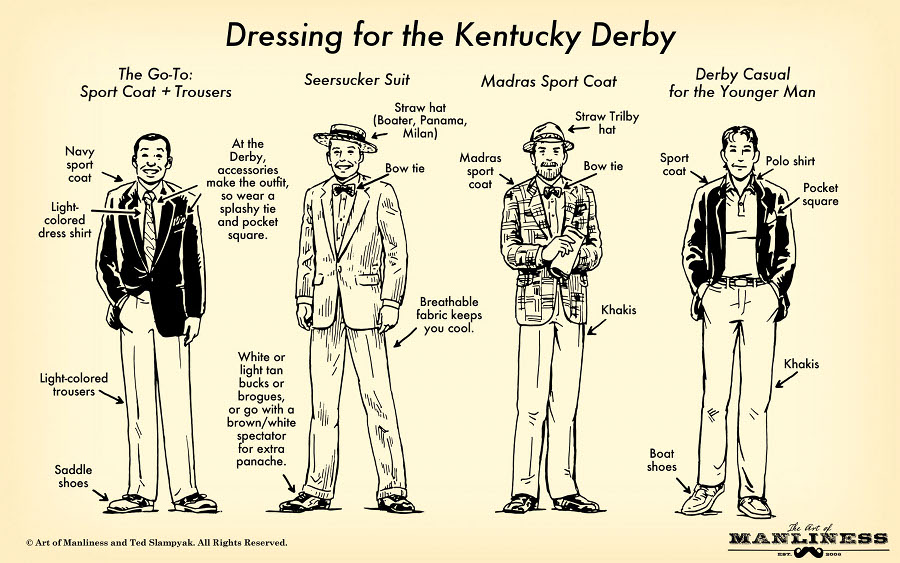 Men dressing for the kentucky derby illustration.