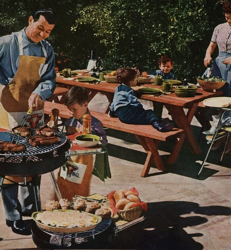 Vintage man cooking recipes illustration.