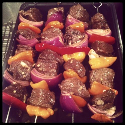 Vintage grilling beef kebabs illustration.