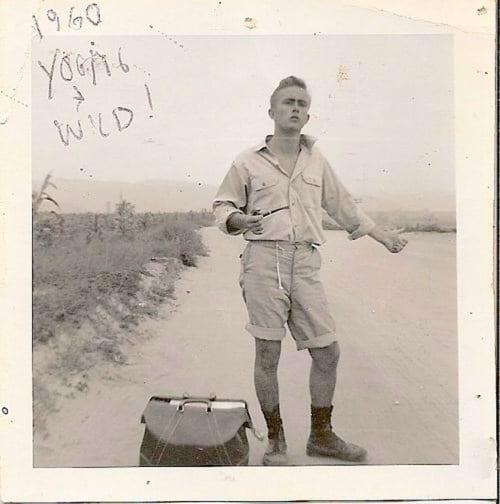 Vintage man standing at the road illustration.