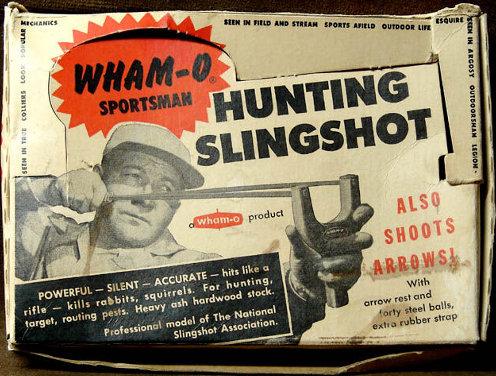 Vintage a man shooting with slingshot illustration.