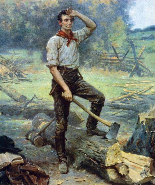 Abraham Lincoln chopping wood with axe painting.