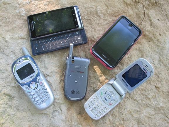 Vintage five cell phones illustration.