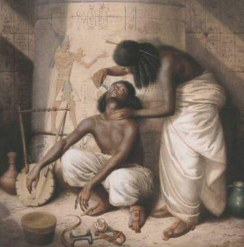 Vintage old men shaving illustration.