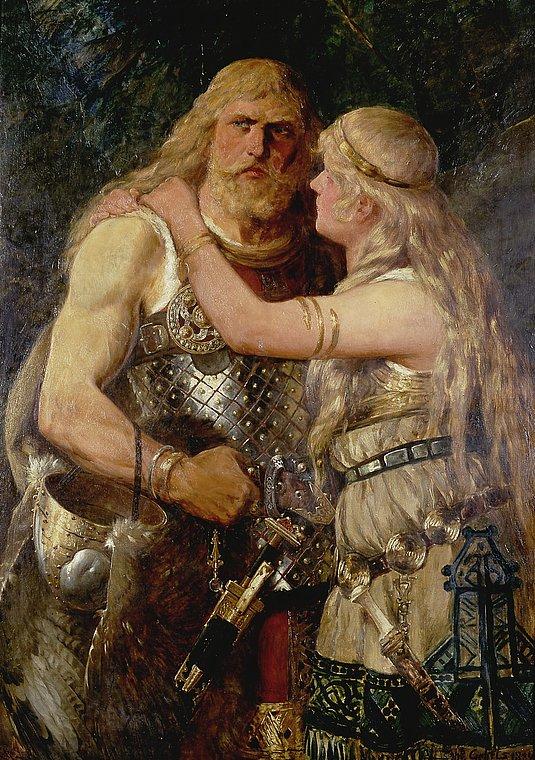 Ancient germanic men tribes illustration.
