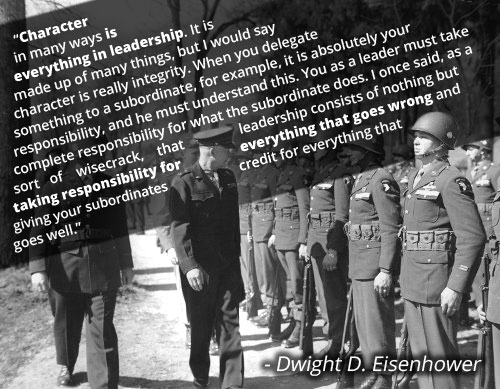 Vintage quote by Dwight D. Eisenhower and soldiers are standing illustration.