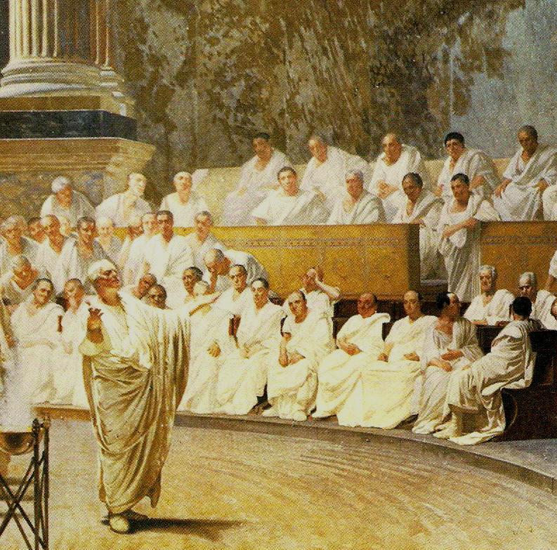 The ancient romans clean-shaven men illustration.