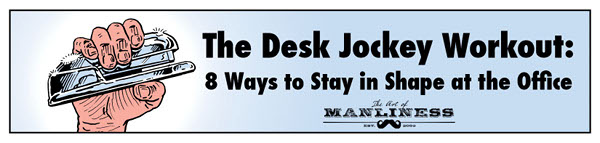 desk jockey workout man crunching stapler illustration