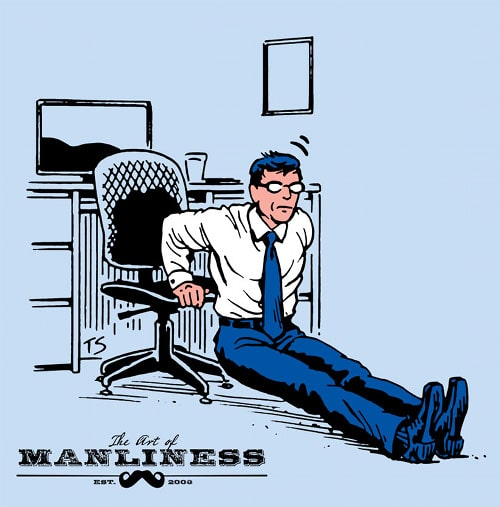 Businessman doing dips on chair workout illustration.
