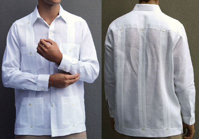 white guayabera shirt man adjusting sleeves