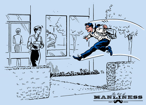 Businessman jumping hedges parkour commute illustration.