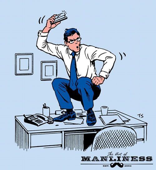 Businessman doing groks squats on desk illustration.