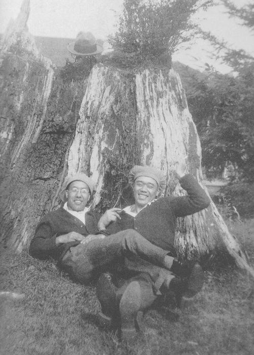 Vintage two men black and white photo illustration.