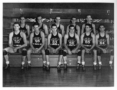 Vintage duke basketball team black and white illustration.