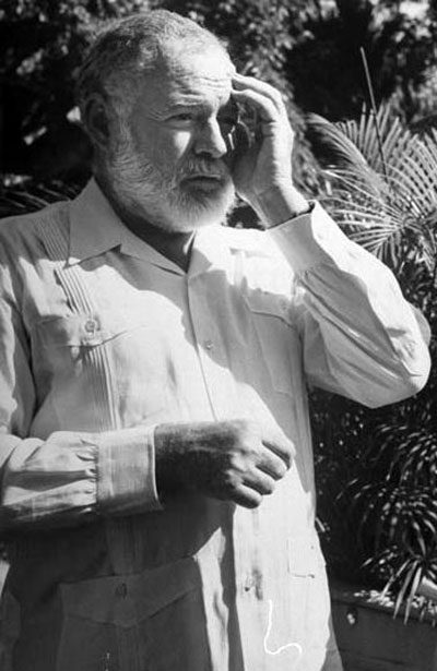 Ernest Hemingway guayabera shirt touched head.