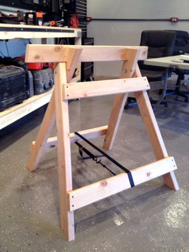 DIY homemade wooden sawhorse workshop project.