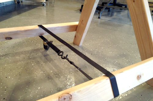 diy homemade wooden sawhorse ratcheting strap secure legs
