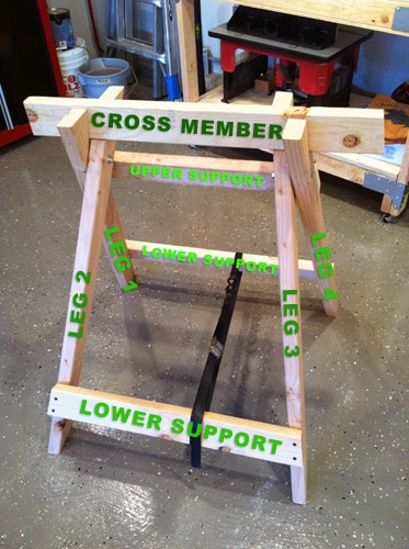 diy homemade sawhorse for woodworking projects diagram