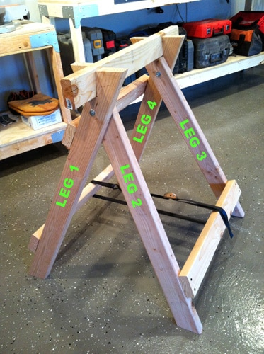 DIY homemade sawhorse for woodworking projects diagram.