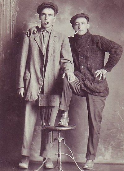 Vintage two men are standing and smoking black and white photo illustration.