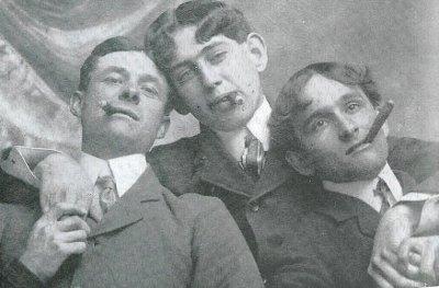 Vintage three peoples are smoking black and white photo illustration.