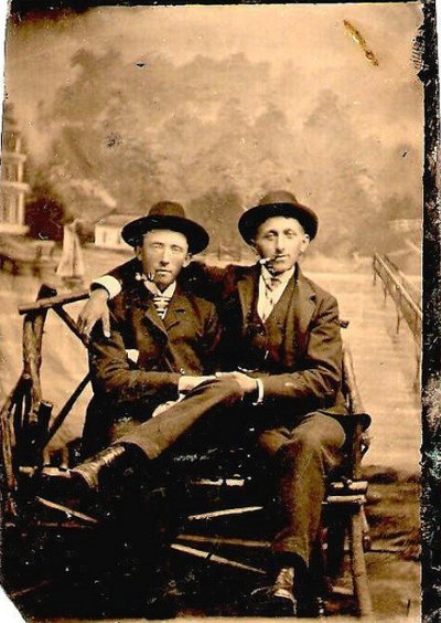 Vintage two men sitting on chair and smoking black and white photo illustration.