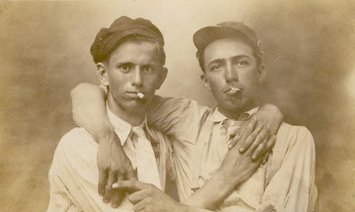 Vintage two young boys smoking Cigarette, black and white photo illustration.