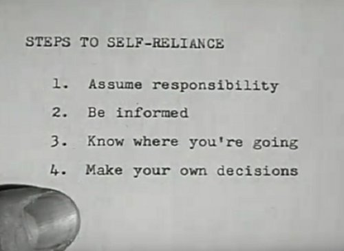 vintage steps to self reliance list on paper close up