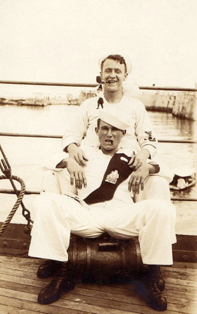 Vintage two men smoking and smiling black and white illustration.