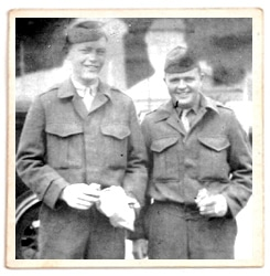 Sid Phillips, left, with W.O. Brown wwii soldier