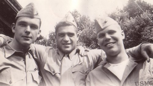Vintage three army soldiers close up black and white illustration.