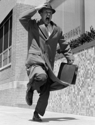 Vintage man businessman overcoat running yelling late.