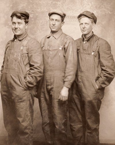 Vintage three young men standing black and white illustration.