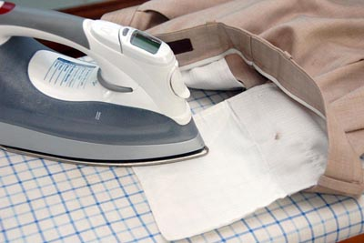 ironing pants pocket lining