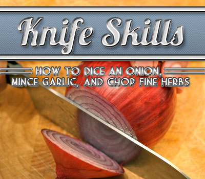 Large chef's knife chopping red onion.